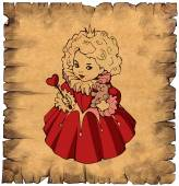 Paper scroll with a little queen — Stock Photo