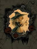 Halloween illustration with  witch — Stock Photo