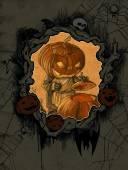 Halloween background with  Jack O Lantern — Stock Photo