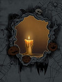 Halloween background with candle — Stock Photo