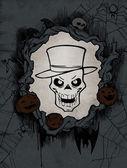 Halloween background with  skeleton — Stock Photo