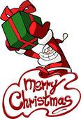 Christmas greeting card with cartoon Santa — Stock Vector