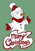 Christmas card illustrating snowman — Stock Vector