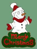 Christmas greeting card illustrating  snowman — Stock Vector