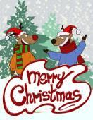 Christmas greeting card illustrating deers — Stock Vector