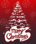 Christmas gratulationskort med träd — Stockvektor