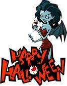 Halloween cartoon vampire lady — Stock Vector
