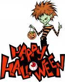 Halloween card with  vampire boy — Stock Vector