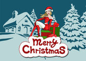 Girl in bright santa claus costume — Stock Vector