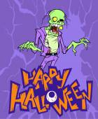 Halloween cartoon  card with  zombie — Stock Vector