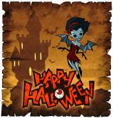 Halloween card with vampire lady — Stock Photo