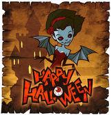 Halloween card with vampire lady — Stock Photo