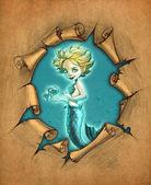 Mermaid with her pet fish — Stock Photo