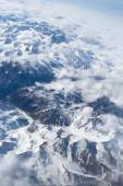View on Tibet mountains. view from the airplane window at the sn — Stock Photo