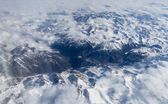 Tibet mountains. view from the airplane window at the snow-cover — Stock Photo