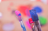 Painting Utensils  in front of colored Pallet — Foto de Stock