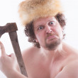 Funny looking man with a ax in his hands — Stock Photo #58622137