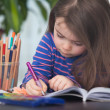 Cute hard-working writing her homework for school — Stock Photo #72965187
