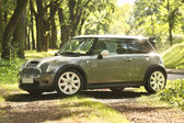 Poland, August 29 2014: Mini Cooper S in the forest — Stock Photo