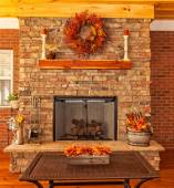 Outdoor Deck with Fireplace — Stock Photo