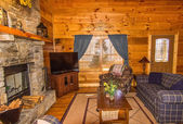 Seating Area in Log Cabin — Stock Photo