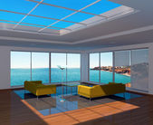 Living room interior with sea view — Stock Photo