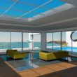 Interior room with swimming pool and seascape view — Stock Photo #55731427