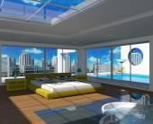 Modern bedroom interior — Stock Photo