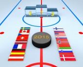 Flags, hockey puck and ice winners podium — Stock Photo