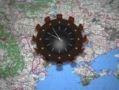 Chairs and round table on Ukraine map  — Stock Photo