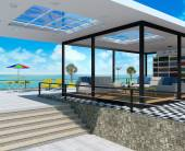 Interior house and seascape view — Stok fotoğraf