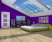 Wnętrza nowoczesnych sypialni 3d — Zdjęcie stockowe