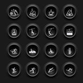 Winter Icons Buttons Black Ver — Stock Vector