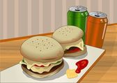 Burgers and soft drinks — Stock Vector