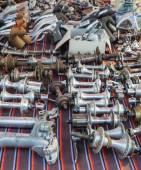 Peças de moto vintage em exposição no L'Eroica, Itália — Fotografia Stock