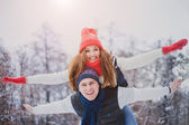 Love story,winter — Stock Photo