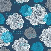 Seamless pattern of hand drawn doodle clouds — Stock Vector