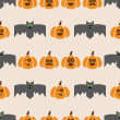 Seamless pattern of bats and pumpkins — Stok Vektör #55131571