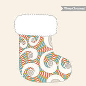 Christmas stocking for gifts, decorative pattern — Wektor stockowy