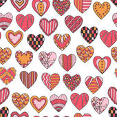 Seamless pattern of hand drawn hearts — Stock Vector
