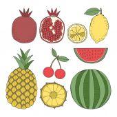 Set of fruit, pineapple, lemon, cherry, pomegranate, watermelon — Stock Vector