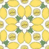 Seamless fruit pattern of lemons — ストックベクタ