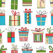 Seamless pattern of gift packages, Christmas gifts — Stock Vector