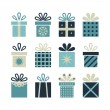 Set of flat gift packages, Christmas gifts — Stock Vector #59101383