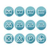 Set of flat instruction laundry icons, washing symbols — Stock Vector