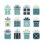 Set of flat gift packages, Christmas gifts — Stock Vector