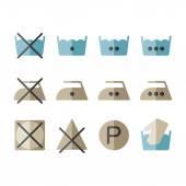 Set of instruction laundry icons, washing symbols — Stock Vector