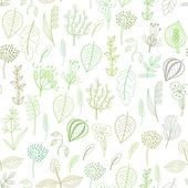 Seamless pattern of plants and herbs, floral background — Stock Vector
