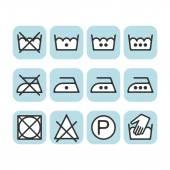 Set of instruction laundry icons, care icons, washing symbols — Stock Vector