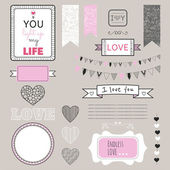Romantic graphic set, borders, hearts, frames, ribbons, labels — Stock Vector